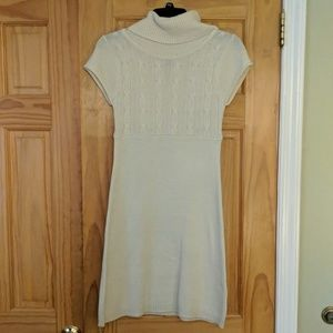 Cable Knit short sleeve turtleneck sweater dress
